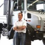 Arnold Schwarzenegger with Mercedes-Benz Unimog image.