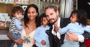 Zoe Saldana and her husband with children