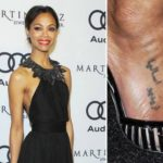 Zoe Saldana did a arabic tattoo on her right feet