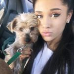 Ariana grande with her pet Strauss