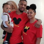 Damian Lillard with his wife and son