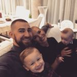 Jonas Valanciunas with his wife and kids