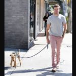 Armie Hammer walking with his pet