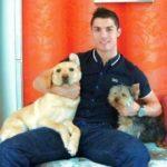 Cristiano Ronaldo posing with his pets