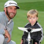 Dustin Johnson with son Tatum Gretzky Johnson