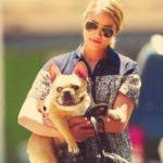 Dianna Agron with pet dog