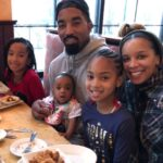JR Smith with wife and daughters