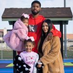 Paul George with his partner and daughters