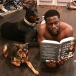Kevin Hart with his pet dogs Riggs and Roxy