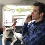 John Mulaney with his pet dog