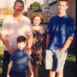 Randy and his brother and sister and his father image.