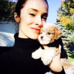 Abigail Spencer with pet puppy