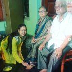 Archita Sahu with maternal grandfather and grandmother