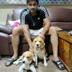Arindam Roy with his pet dogs