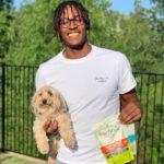 Myles Turner with his pet dog Brock