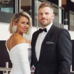 Aaron Finch with wife Amy Griffiths Finch