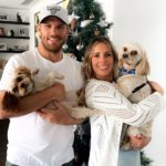 Aaron Finch with wife and pets