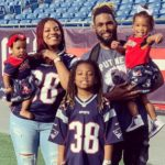 Brandon Bolden with wife and kids