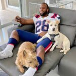 James White with his pet dogs