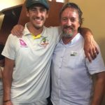 Mitchell Strc with father Paul Starc