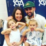 Nathan Lyon with former wife Melissa Waring and kids