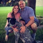 Rex Burkhead with wife and pet dog