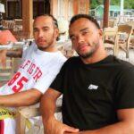 Lewis Hamilton with brother Nicolas Hamilton
