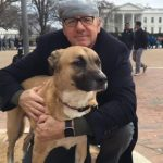 Kevin Spacey with his pet dog