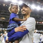 Mookie Betts with daughter Kyn Betts