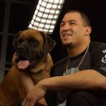 Tyrone Crawford with his pet dog
