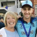 Chris Woakes with his mother Elaine Woakes