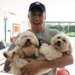 Tom Banton with his pet dogs