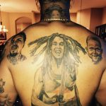 Mike Pouncey.'s back tattoos