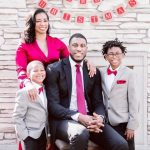 Thaddeus Young with his wife and kids