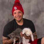 Yadier Molina with his pet cats