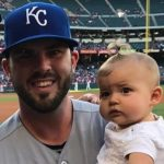 Eric Hosmer with his child