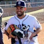 Eric Hosmer with his pet dog
