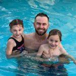 Evan Longoria with his two children