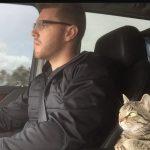 Freddie Freeman with his pet cat