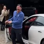 Josh Donaldson with his white car