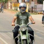 MS Dhoni with his Bullet