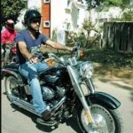 MS Dhoni with his Harley Devidson Bike