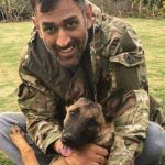 MS Dhoni with his pet dog