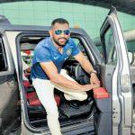 MS Dhoni with his tata Hamer car
