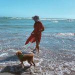 Raegan Revord with his pet dog
