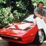 Tom selleck with his red car