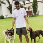 Virender Sehwag with his pet dogs