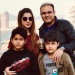 Virender Sehwag with his wife and two sons