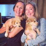 Zoe Perry and her mother with her pet dogs