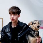 Alex Lawther with his pet dog